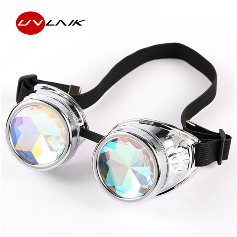 4804ee04fe9 Detail Feedback Questions about UVLAIK Steampunk Goggles Sunglasses Men  Women Beautiful Lenses Kaleidoscope glasses Welding Cyber Punk Gothic  Cosplay ...