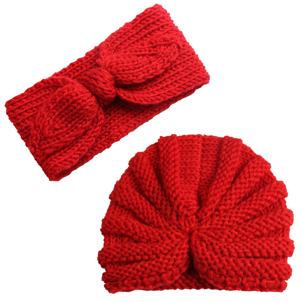 2pcs Fashion Baby Bow Bowknot Hijab Velvet Cap Chemo Hat Hair Band Set Muslim Turban Bandanas For Cute 0-5 Years Kids