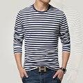 Темно-синяя рубашка с длинным рукавом мужская футболка с круглым вырезом в полоску Футболка мужская рубашка темно-синяя винтажная Базовая 95% хлопковая рубашка - фото
