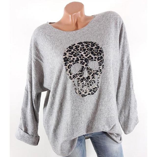 Big Size S-5XL Women'S T-Shirt Long Sleeve Tee Shirts Solid O-Neck Casual Female Skull Print Tops Femme Blusas SJ1324X 1