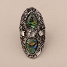 Gorgeous Crystal Big Resizable Cocktail Rings For Women Water Drop Natural Abalone Shell Vintage Party Ring Fashion Jewelry стоимость