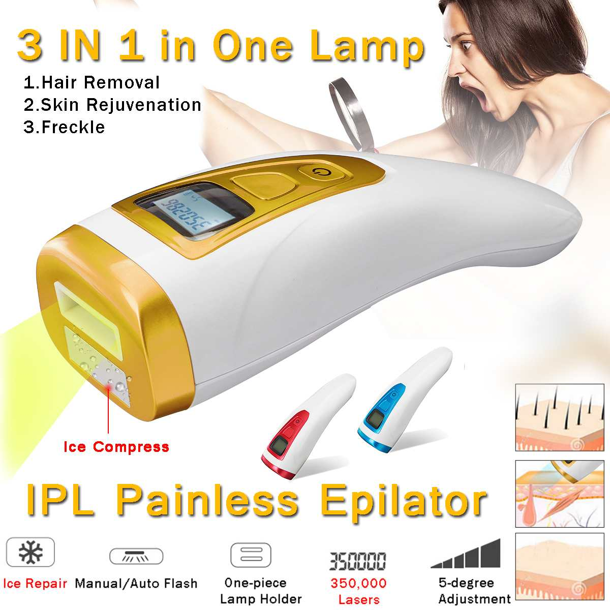 Hair Removal Epilator 5 Gears Painless Laser Mini Facial Bikini Armpit Permanent Device US/EU Plug 100-240V Permanent ColorsHair Removal Epilator 5 Gears Painless Laser Mini Facial Bikini Armpit Permanent Device US/EU Plug 100-240V Permanent Colors