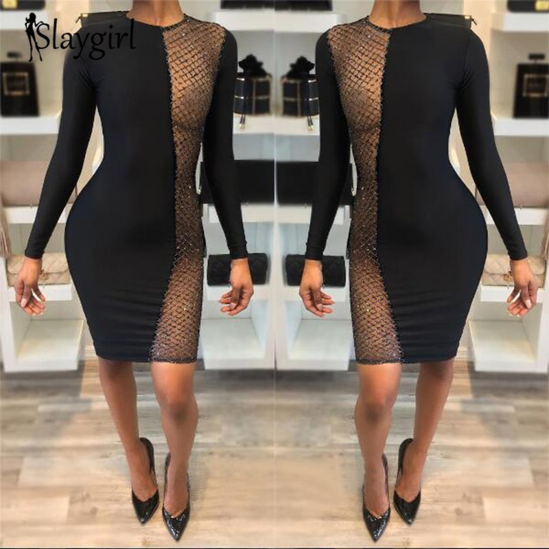 Slaygirl Black through mesh Hollow Sexy Dress Women Summer Perspective mini sequin Dress long sleeve O neck Vestidos fashion