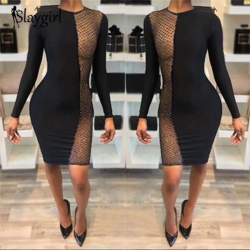 Slaygirl Black through mesh Hollow Sexy Dress Women Summer Perspective mini sequin Dress long sleeve O neck Vestidos fashion