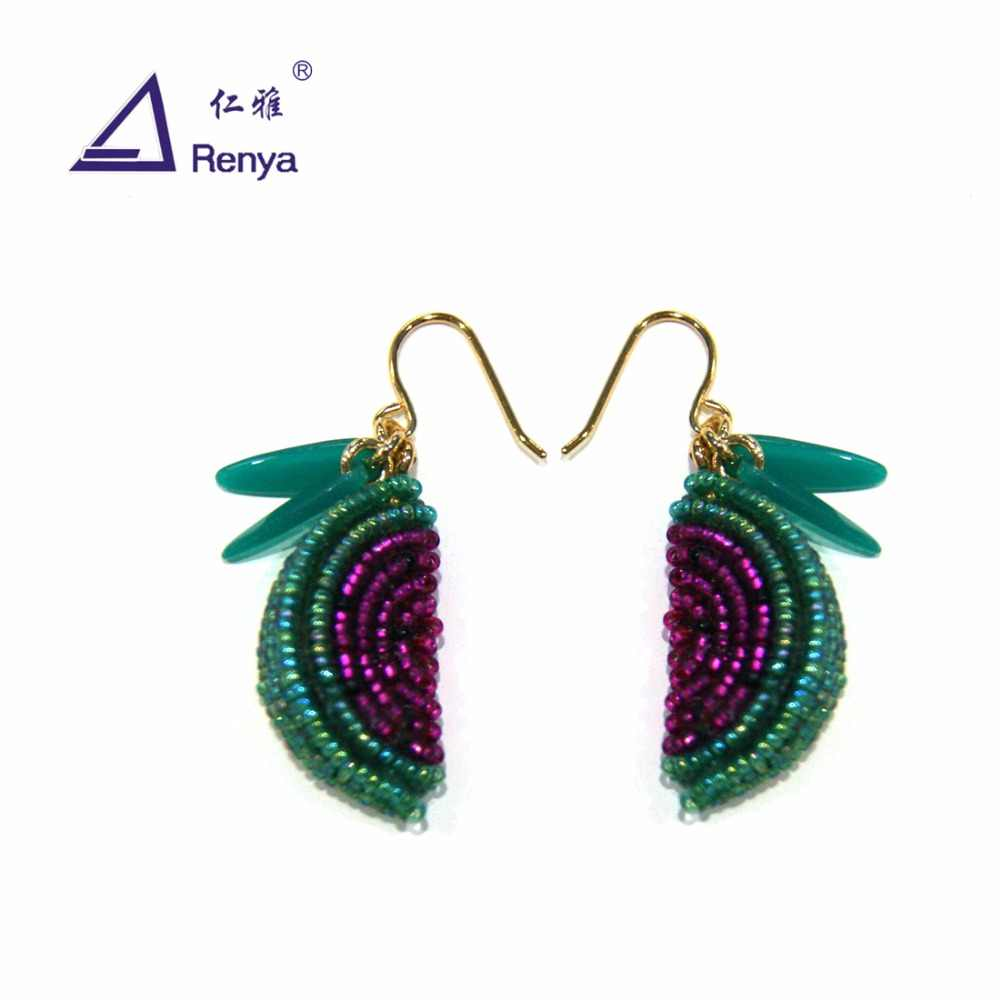 Renya Cute Waterlmelon Shape Pendant Earrings Handmade Seed beaded Women Earring For Girls Dangling Earring Bright Fuchsia Green