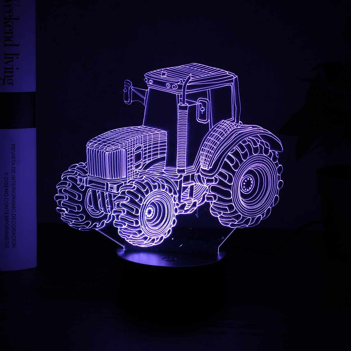 USB LED 3D Tractor Drag Racing Night Light Colorful Moon Lamp Touch Remote Controller Kids Birthday Lampara Gift