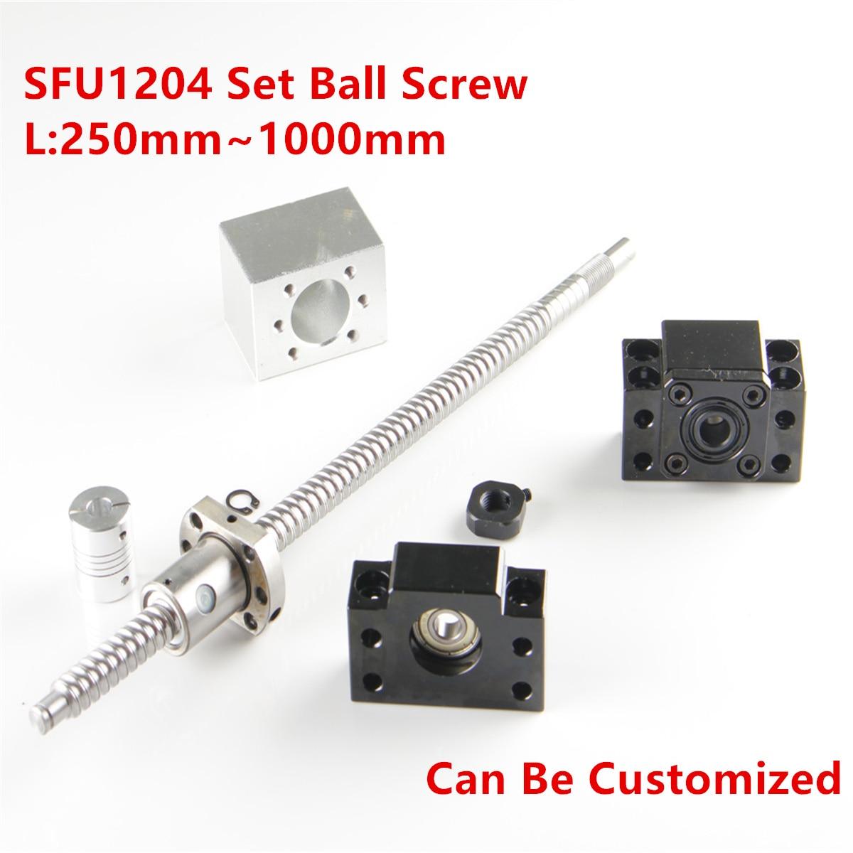 SFU1204 Rolled Ball Schroef C7 Met End Gefreesd 250-1500 Mm + Koppeling RM1204 + 1 Kogelmoerbehuizing + 1 Set BK10/BF10 End Ondersteuning