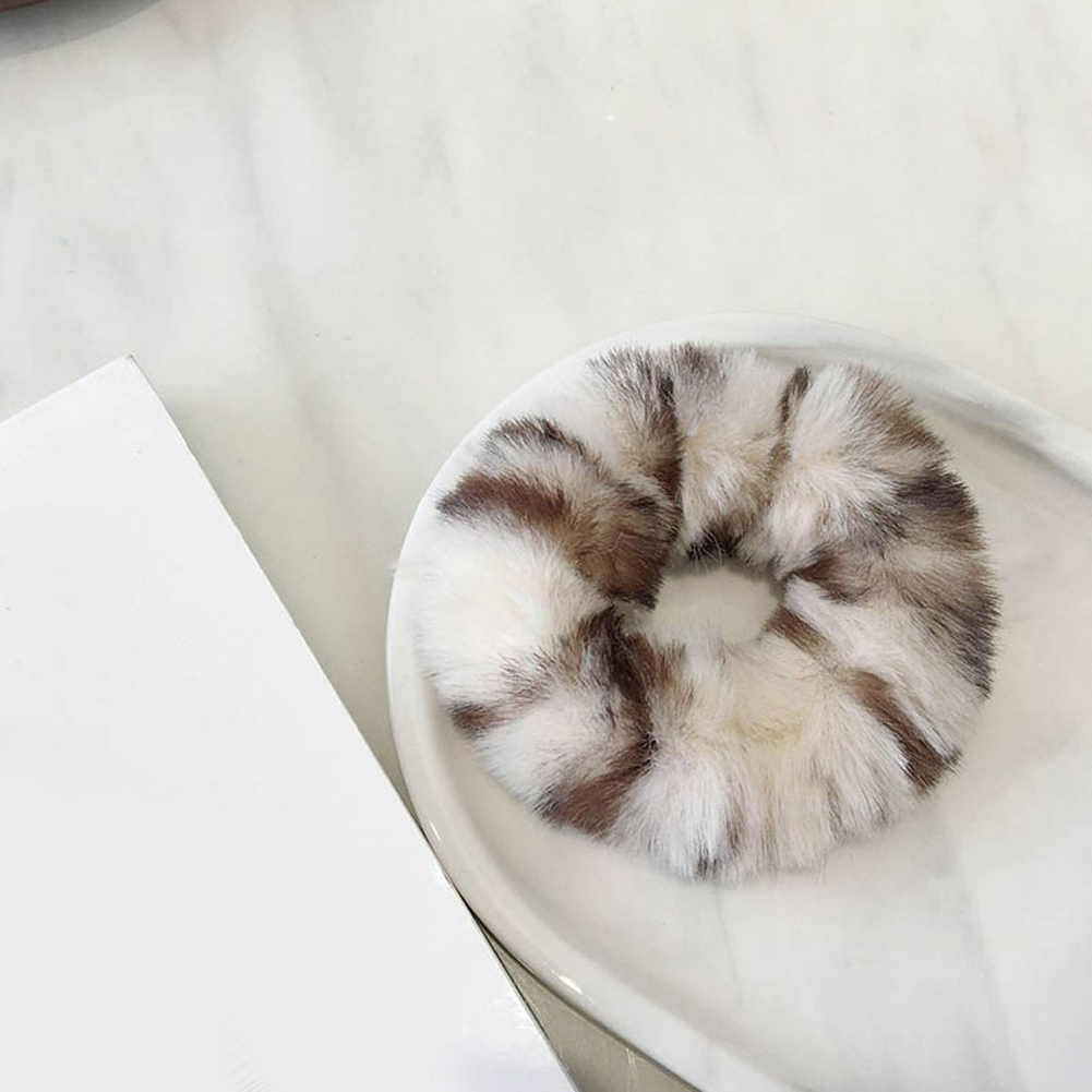 Fashion Luxury Faux Rabbit Fur Leopard Fluffy Hair Rope Rings Scrunchie Girls Elastic Hair Ties Hair Accessories Ponytail Holder