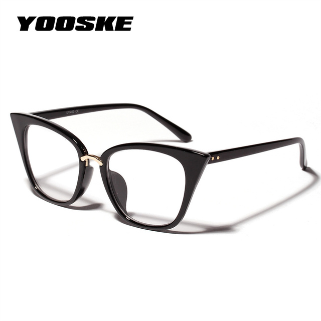 7989e87b4ec YOOSKE Cat Eye Frames Glasses for Women Brand Designer Oversized Eyeglasses  Retro Clear Lens Optical Glasses Frame Spectacle