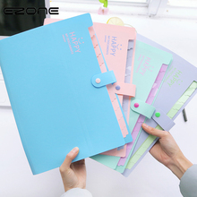 EZONE 12 Grid Candy Color Document Bag A4 File Folder Expanding Wallet Portable Paper Holder School Office Stationery Supply