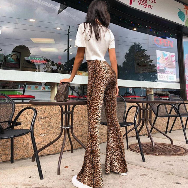 Harajuku Leopard Print Pants Ankle-length Flare High Waist Sweatpants 2018 Autumn Casual Sexy Slim Women Clothing Wholesale