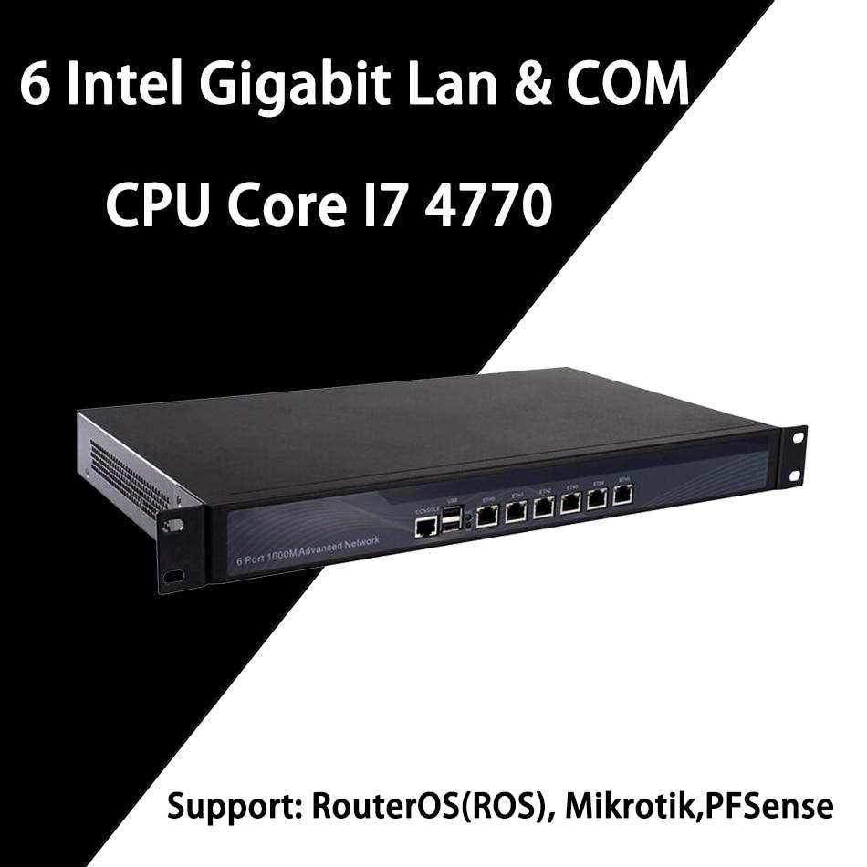 Firewall Mikrotik Pfsense VPN Network Security Appliance Router PC Intel Core I7 4770,[HUNSN SA16R],(6LAN/2USB/1COM/1VGA)
