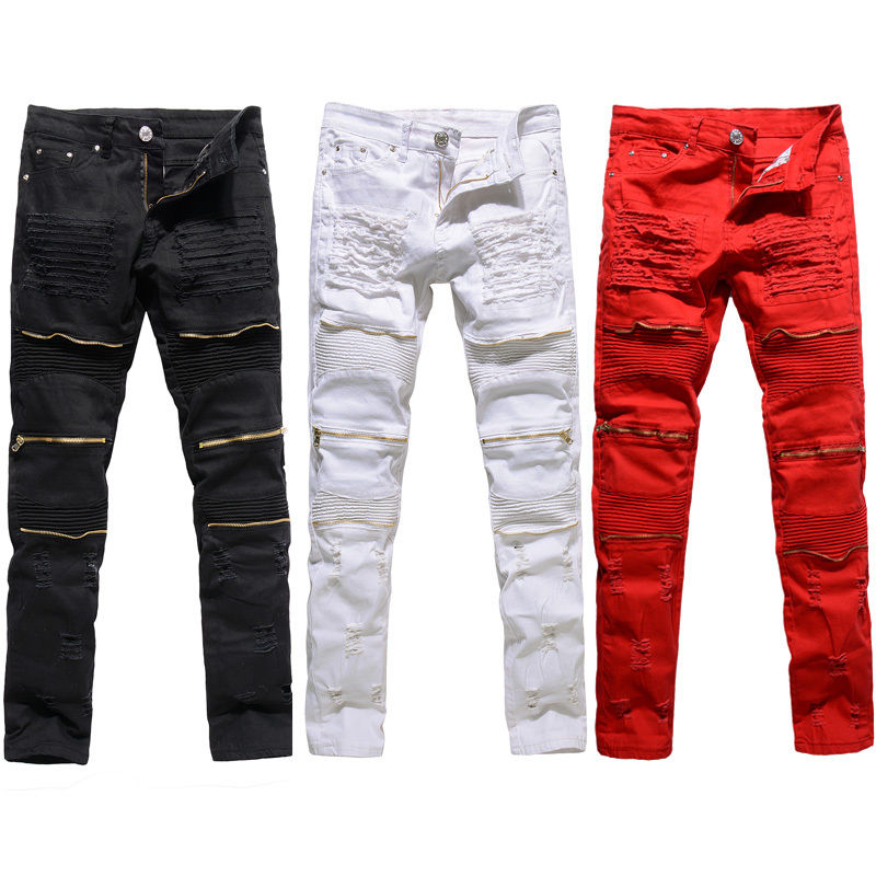 Mens Red White Skinny Slim Biker Pants Knee Zipper Distressed Ripped Denim Jeans