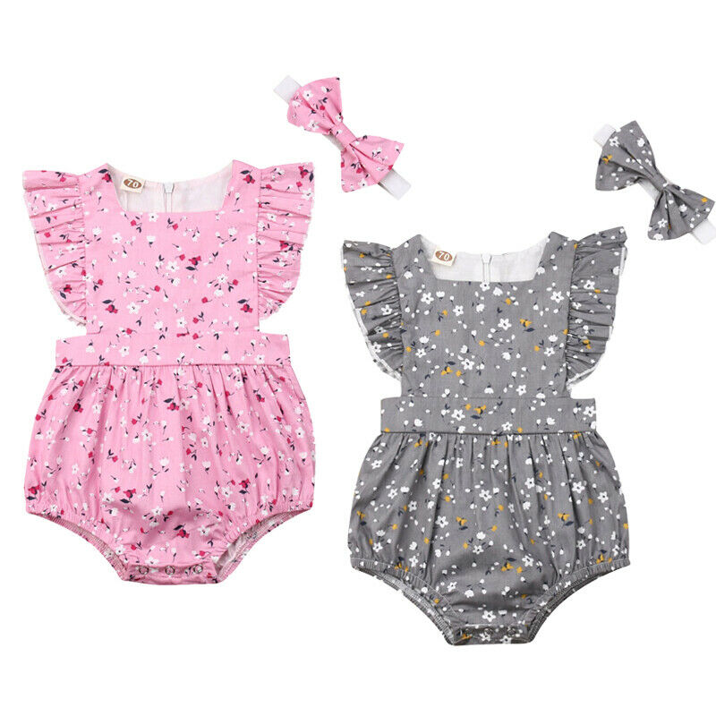 Little Baby Girl Floral   Romper   Jumpsuit Ruffle Sleeve One-pieces Outfit Clothes with Headband Toddler Infant Girls Sunsuit