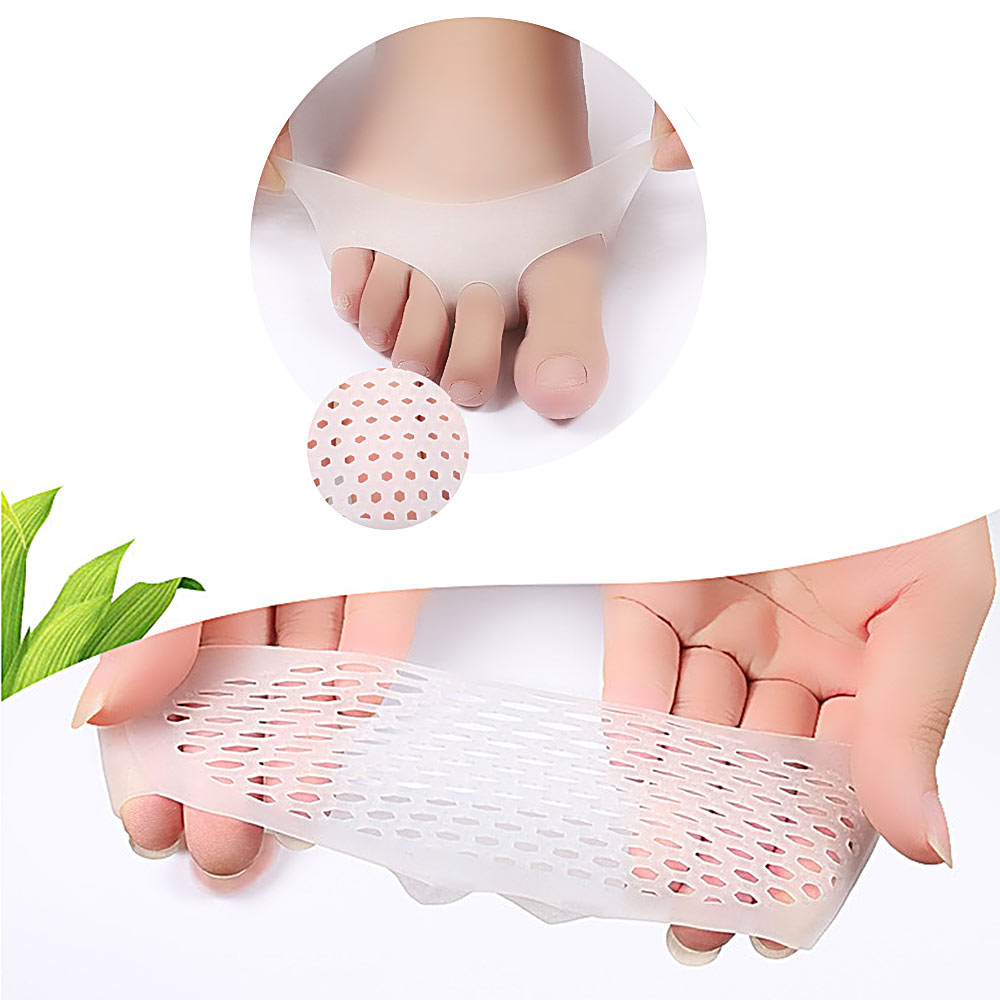 1 Pair Pink Silicone Gel Forefoot Cushion Pads Pain Relief Breathable Protector For Women Foot Care Pads Ball Of Foot