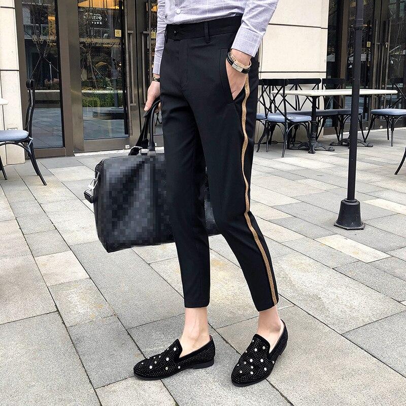 Fita lateral pant 2018 homens vestido pant negócios casual escritório calças ment tornozelo comprimento pantalon homme magro ajuste calças sociais