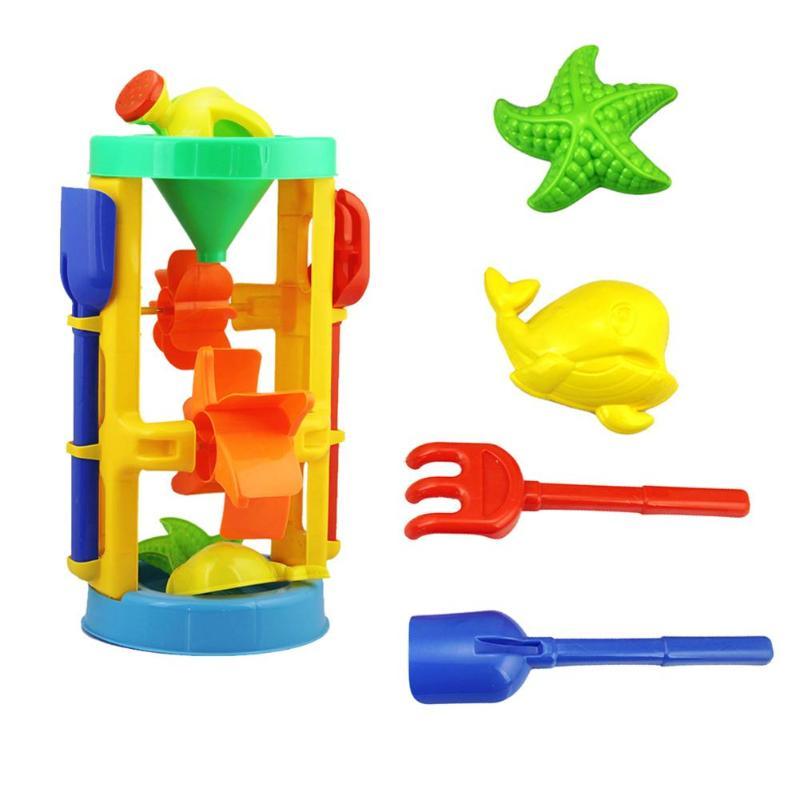 Summer Beach Sand Water Play Toys Kids Seaside Bucket Hourglass Rake Tools