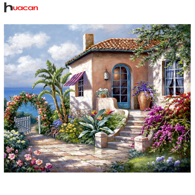 Embroidery Scenery Diamond Painting Cross Stitch Needlework Craft