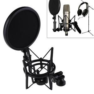 Image 1 - Professional Microphone Mic Shock Mount with Shield Filter Screen Mic Shock Mount Holder Bracket For Large Diaphram Mic
