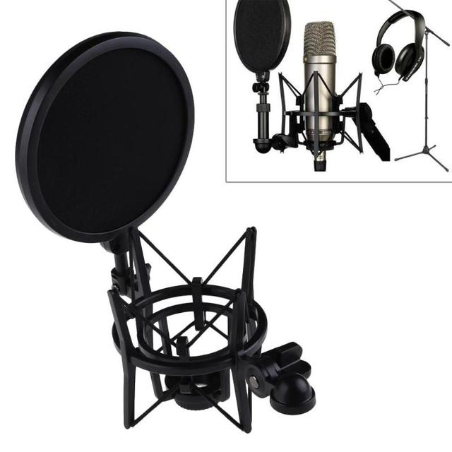 Professional Microphone Mic Shock Mount with Shield Filter Screen Mic Shock Mount Holder Bracket For Large Diaphram Mic