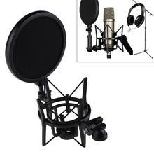 Profesyonel mikrofon mikrofon şok dağı ile kalkan filtresi ekran mikrofon şok dağı tutucu braketi büyük diyafram mikrofon