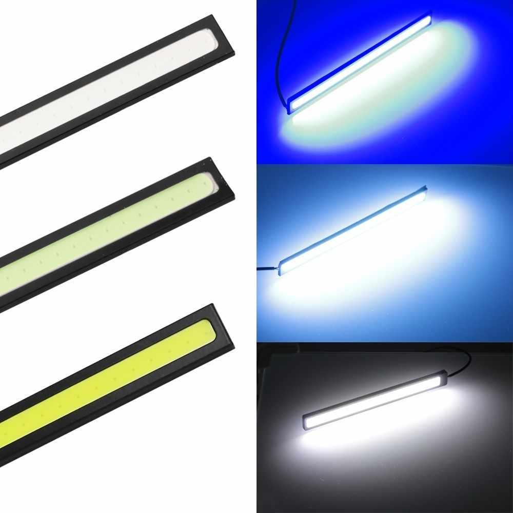 1 قطعة 17 سنتيمتر العالمي النهار تشغيل ضوء COB DRL LED مصباح سيارة أضواء خارجية السيارات مقاوم للماء سيارة التصميم Led DRL مصباح