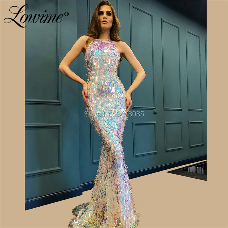 Celebrity Wedding Dresses 2019: Silver Saudi Arabic Evening Dresses 2019 Mermaid Formal