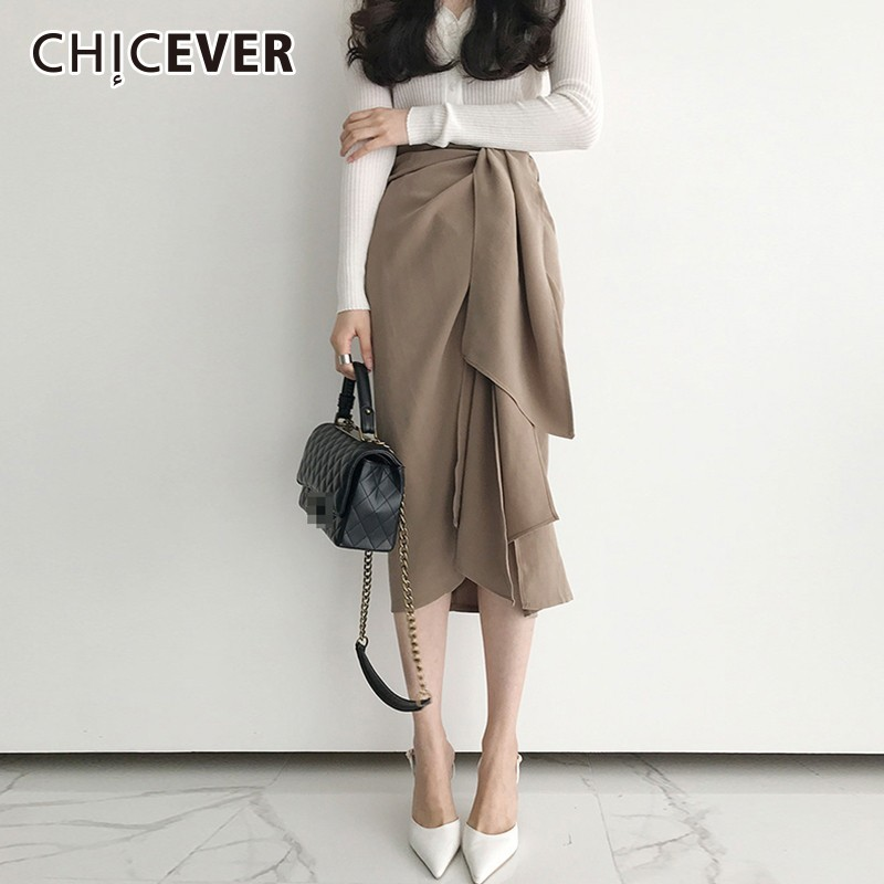 CHICEVER 2019 Spring Skirts For Women Irregular High Waist Ribbons Women's Midi Skirt Female Korean Fashion Clothes New