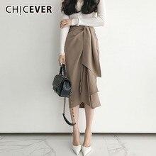 CHICEVER 2020 Spring Skirts For Women Irregular High Waist Ribbons Womens Midi Skirt Female Korean Fashion Clothes New