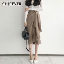 Chicever 2020スプリングスカート女性不規則なハイウエストリボン女性のミディスカート女性韓国ファッション服新