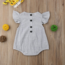Hot Newborn Infant Baby Girls One-Piece Striped Romper Sleeveless Button Jumpsuit Summer Sunsuit Casual plain Outfit Clothes(China)