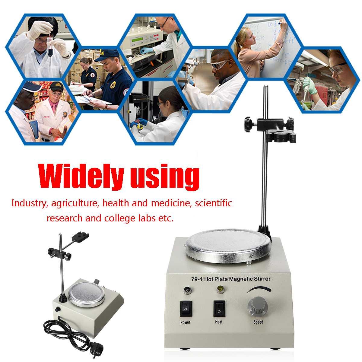 Mélangeur de contrôle variable de vitesse de laboratoire d'agitateur magnétique de plaque chaude de 79-1 1000 ml 110/220 V aucun bruit aucune Vibration US/EU/AU - 3