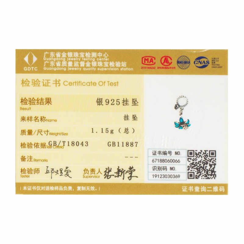 Wostu Cao Cấp Bạc 925 Xanh Dương Hoa Phong Lan Hạt Charm Phù Hợp Với Ban Đầu Vòng Tay Mặt Dây Chuyền Nữ Trang Sức Làm CTC034
