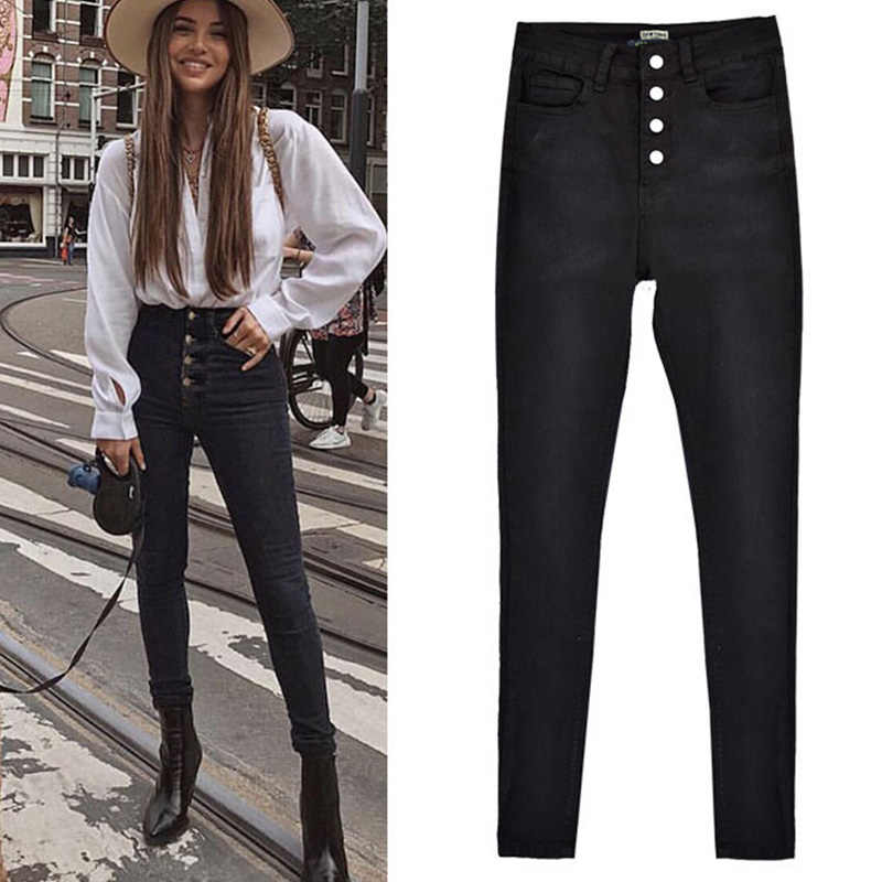 Women's high waist slim fit stretch buckle black jeans fashion fall winter new large size trousers