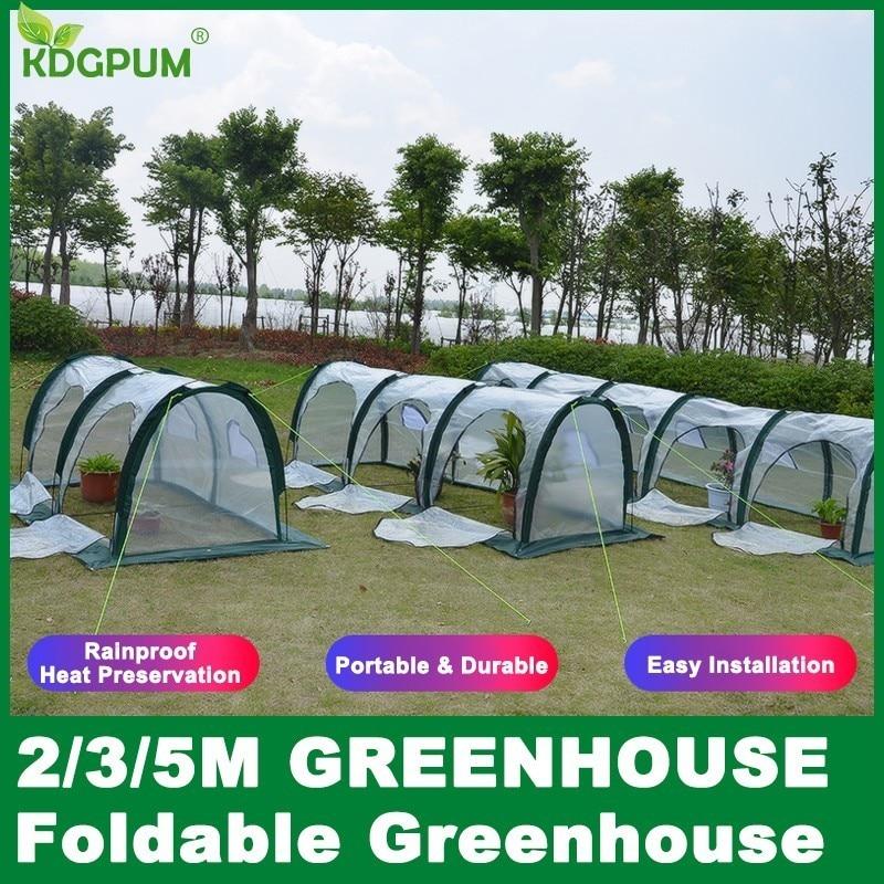 2 3 5M Portable Mini Greenhouse Indoor Garden Plant Greenhouse Plastic PE Waterproof UV Protected Green