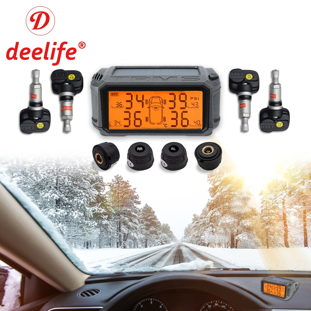 Deelife шин Давление мониторинга Системы TPMS Сенсор солнечный автомобиль шины Давление Управление сигнализации TMPS колеса Внешний внутренний С...