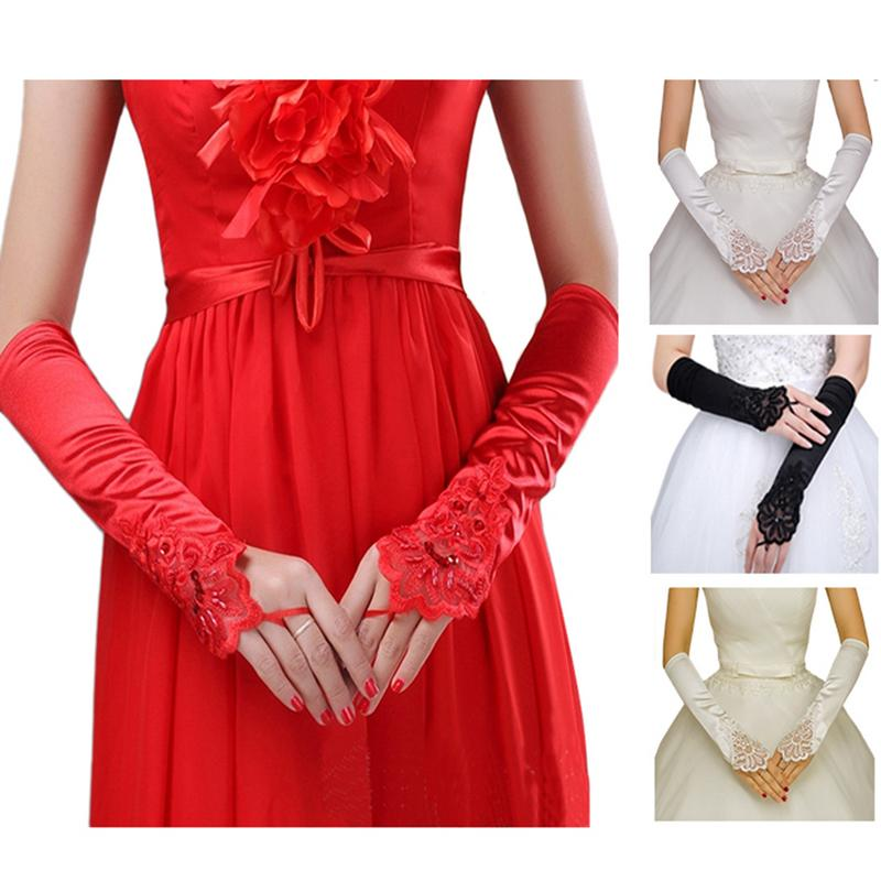 Long Women's Gloves Evening Party Dress/Wedding Accessories Lace Solid Color Warm Decorative Gloves