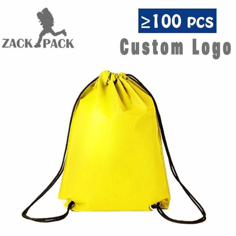 3971fa423 ... Impermeable de deportes bolsas de cordón de logotipo personalizado  bolsa Mochila cuerda hombre lienzo pequeño gimnasio