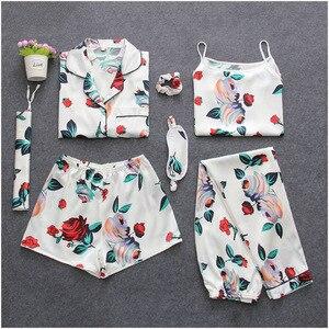 Image 4 - 7 Pieces Womens Silk Satin Pajamas Sets Pyjamas Set Sleepwear Pijama Pajamas Suit Female Sleep Two Piece Set Loungewear