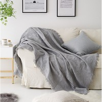 Large Soft Knitted Wool For Autumn And Winter Bed Sofa Plane Thick Yarn Knitting Throw 3 Colors Sofa Cover Blanket