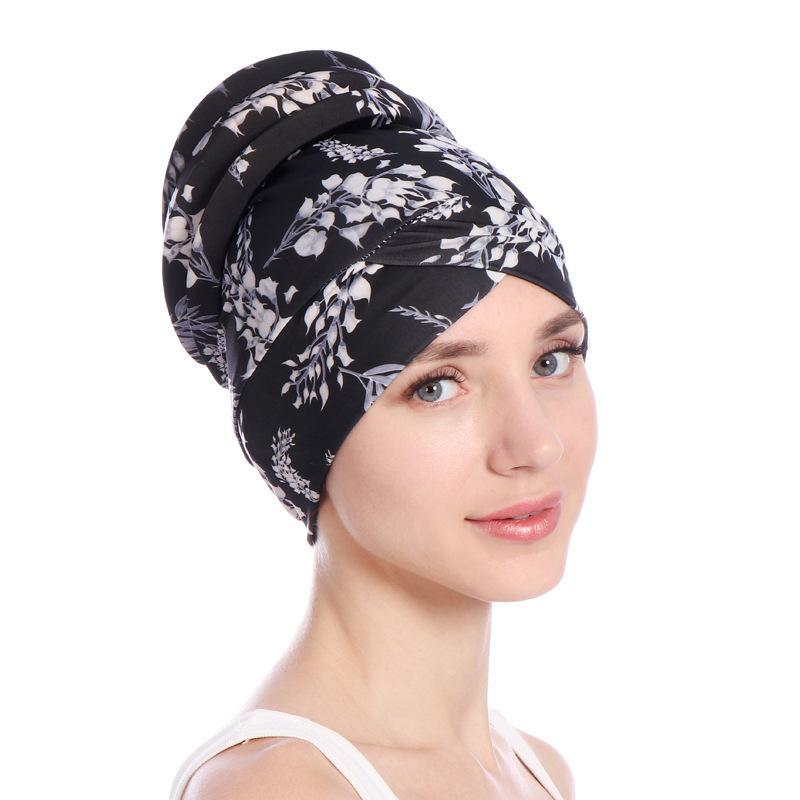 Image 4 - Fashion Women Muslim Hair Loss Cap Flower Print Islamic Islam  Turban Head Wrap Cover Cancer Hat Chemo Cap Bonnet Beanie  SkulliesWomens Skullies