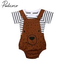 Детская летняя одежда для новорожденных, детский, для маленьких мальчиков и девочек с рисунком милого медведя летний костюм футболка в полоску комбинезон комбинезоны От 0 до 3 лет