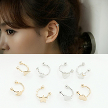 Trendy heart earrings stars moon without piercing ear clip fashion geometric metal gold silver  no Ear hole jewelry