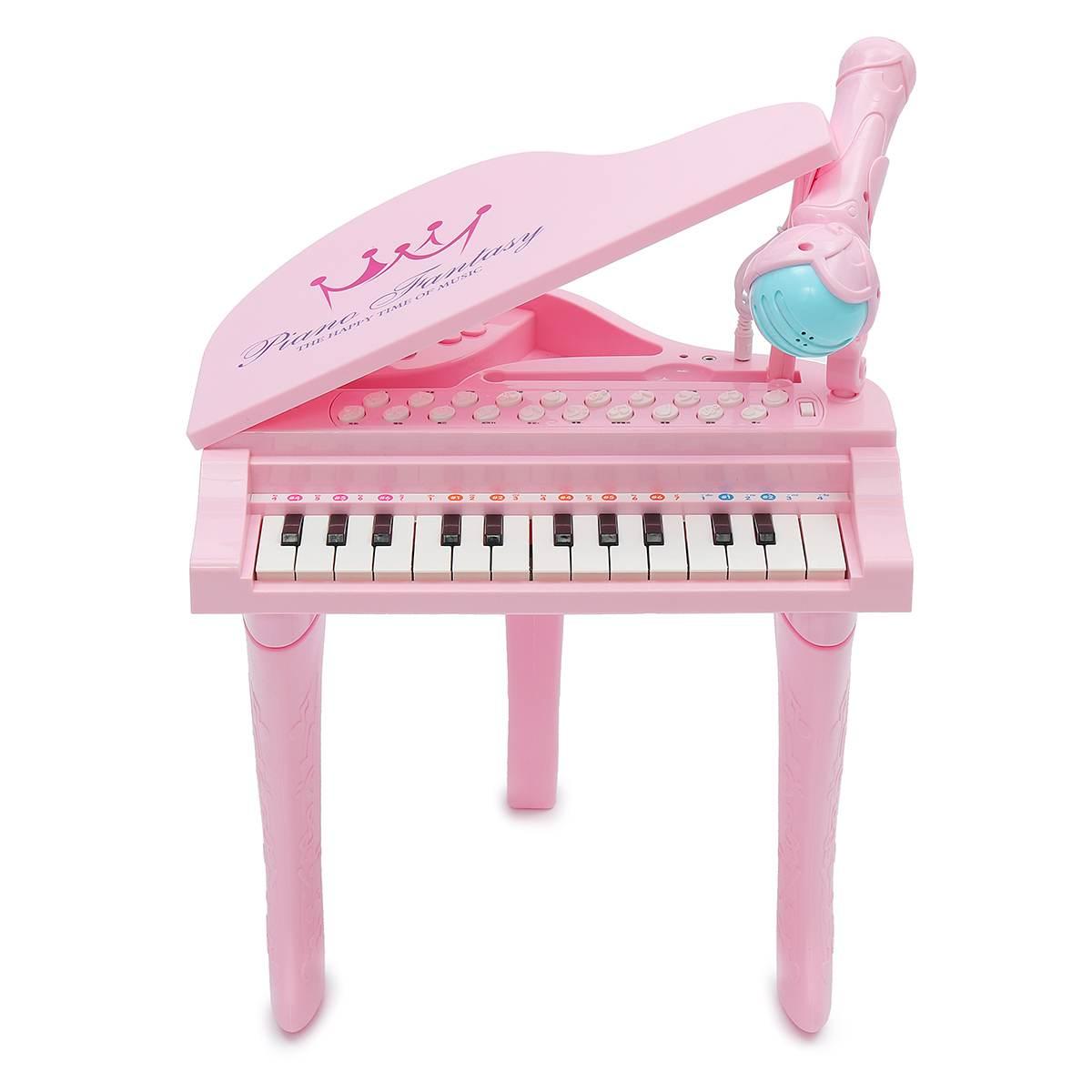 Électronique 25 touches clavier jouet orgue USB enfants Piano Microphone Instrument de musique jouant jouet ensemble rose/bleu enfants cadeaux