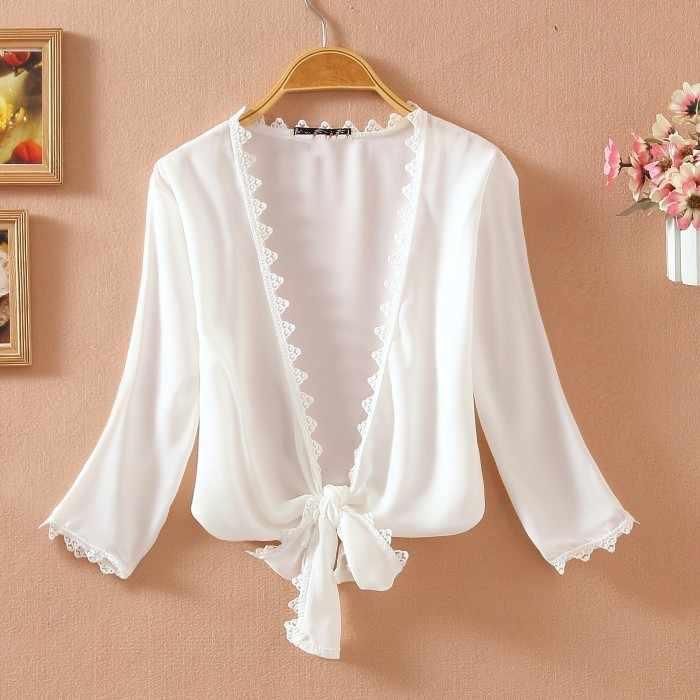 Летняя тонкая кружевная белая женская Солнцезащитная шифоновая блуза с коротким рукавом, кардиган, топы, Camisas Mujer 2019