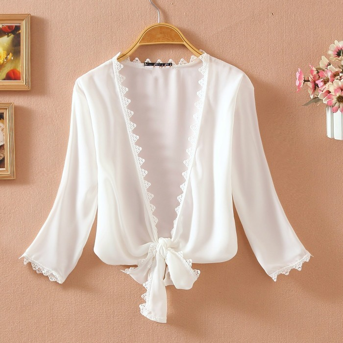 Summer Thin Lace White Shirt Women 39 s Sunscreen Chiffon Blouse Short Sleeve Hollow Out Cardigan Tops Camisas Mujer 2019 in Blouses amp Shirts from Women 39 s Clothing