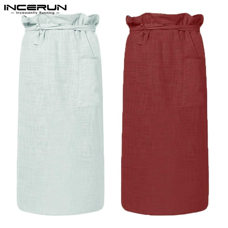 Robes Men's Sleep & Lounge Plus Size Cotton Men Bathrobe Fashion Homewear Comfortable Beach Male Skirt Robe Solid Drawstring Comfy Men Bath Skirts Incerun