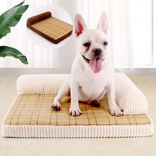 2019 Pet Dog Bed Summer Cool Rattan Mat Corduroy Backrest Puppy Sofa Cat House Soft Pillow Pet Beds for Small Medium Large Dogs