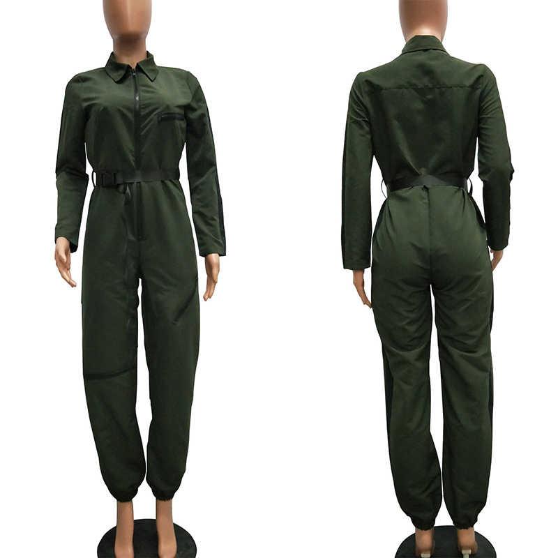 Frauen Military Overall Armee Gürtel Front ZIP Overalls Harajuku Weibliche Trendy Spielanzug-einteilige Streetwear Outfit Jumpersuit Winter