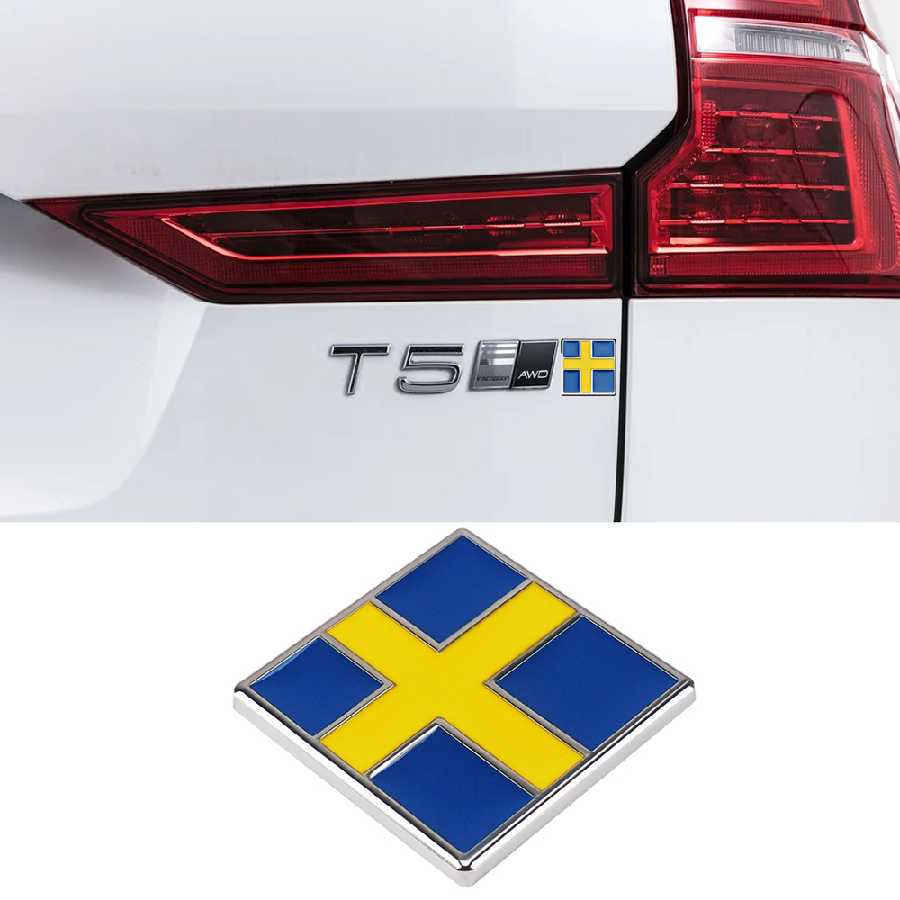 3D Stereo Swedish Flag Emblem Metal Sticker Decal For Volvo S80 S90 C30 C70 XC40 XC60 XC90 Rer Trunk Car Styling Decorative